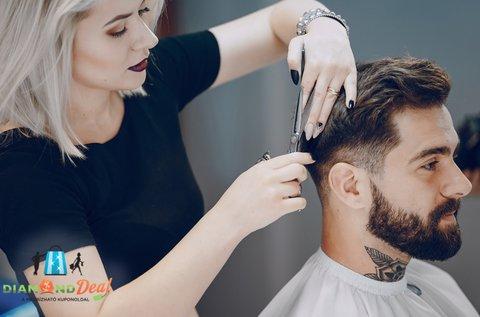Férfi hajvágás géppel és ollóval