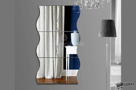 4 db dekoratív, falra ragasztható tükör matrica