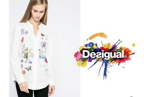 Fehér, női Desigual ing színes mintával