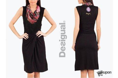 Elegáns Desigual ruha sálhatású nyakkivágással