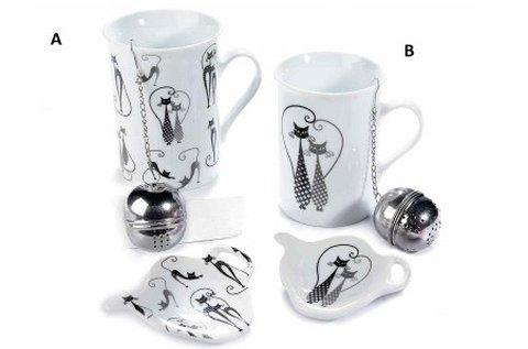 Porcelán teás bögre szett macskarajongóknak