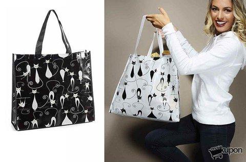 Cicás bevásárlótáska fekete-fehér színben