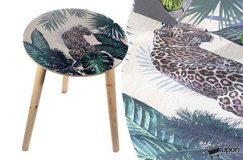 Dzsungel mintás, kerek fa asztalka