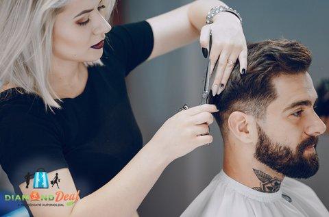 Profi férfi hajvágás géppel és ollóval