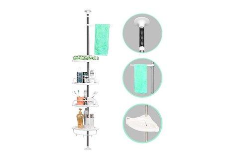 Teleszkópos fürdőszoba polc törölközőtartóval
