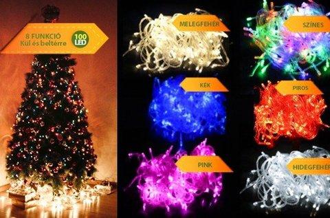 100 LED-es karácsonyi izzósor több színben