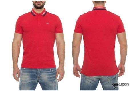 Tommy Jeans férfi galléros póló piros színben