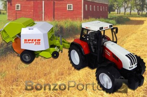 Hatalmas lendkerekes, kormányozható traktor