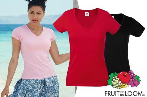 Fruit of the Loom V-nyakú női karcsúsított pólók