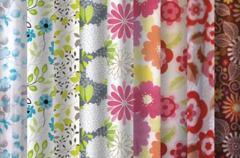 Virágos zuhanyfüggönyök 10 különböző mintában