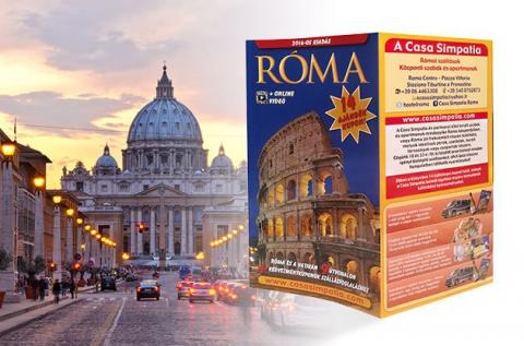 Legújabb kiadású, kis méretű Róma útikönyv