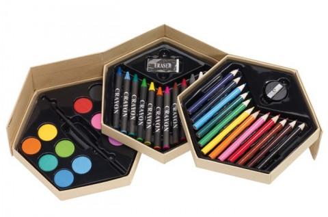 39 részes színező készlet 3 szintes dobozban