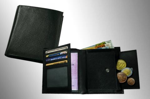 Unisex pénztárca valódi bőrből, fekete színben