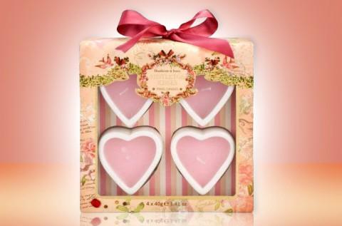 4 db Heathcote and Ivory szív alakú gyertya
