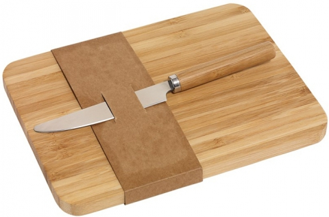 Bambusz vágódeszka bambusz nyelű fém késsel