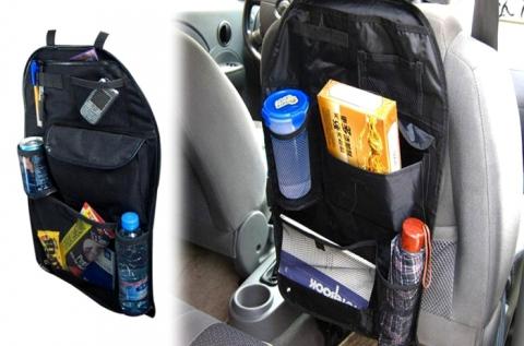Üléstámlára helyezhető autós tároló fekete színben