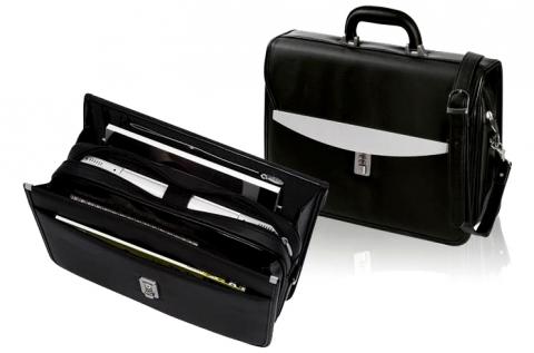Bőrhatású irattartó táska kombinációs zárral