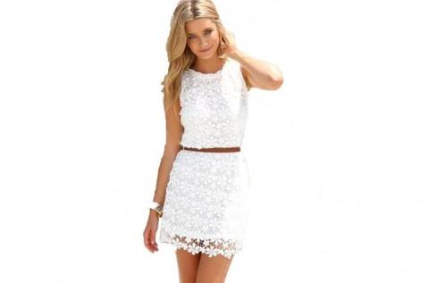 Divatos fehér csipkés nyári ruha S-XL méretben