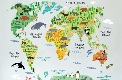 Gyermek világtérkép óriás falmatrica