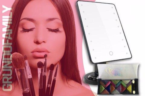 Profi LED-es kozmetikai tükör sminkkészlettel