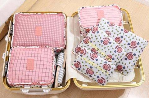 Bőröndrendező szett 6 féle cipzáros tárolóval