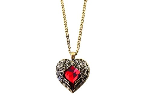 Antik hatású nyaklánc piros szív medállal