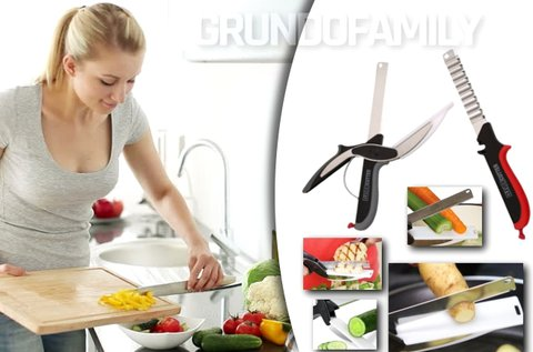 Clever Cutter konyhai olló, kés és vágódeszka