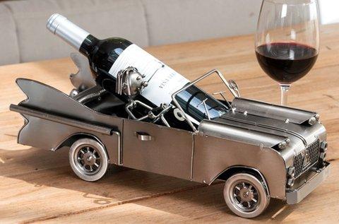 Autóvezető típusú fém borospalack tartó