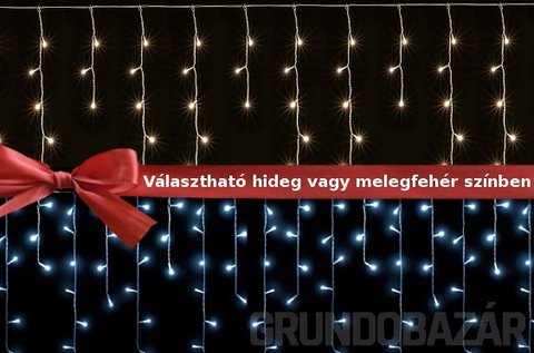 100 LED-es jégcsap kül-  és beltéri égősor