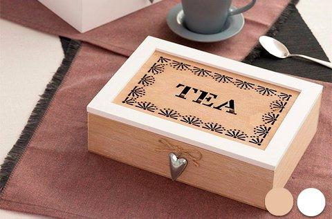 Vintage teafiltertartó doboz 6 db rekesszel