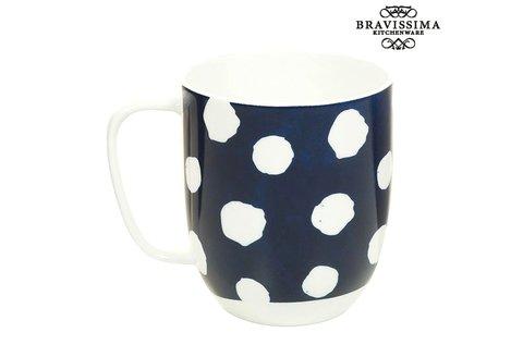 Cup egér kék-fehér porcelán bögre