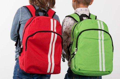 Csíkos iskolai hátizsák 2 db cipzáras rekesszel