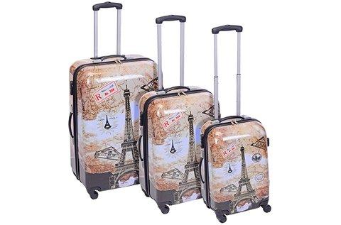 3 db-os Párizs mintás bőrönd szett