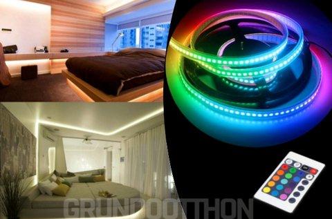 5 m-es színátmenetes RGB LED szalag távirányítóval