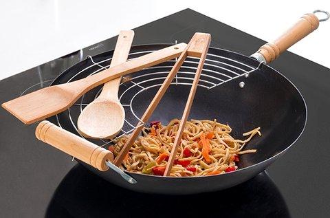 6 db-os wok serpenyő szett üveg fedéllel, ráccsal