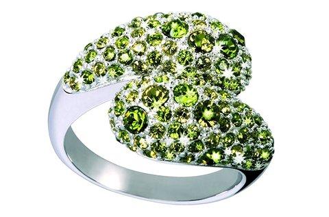 Gyönyörű Glamour női ezüst gyűrű zöld színben