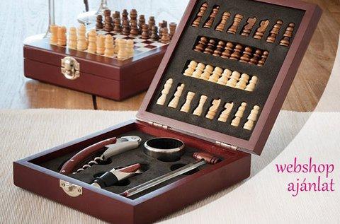 Komplett sakk-készlet és 4 db boros kiegészítővel
