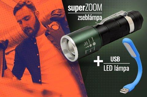 Super Zoom zseblámpa ajándék USB-s lámpával