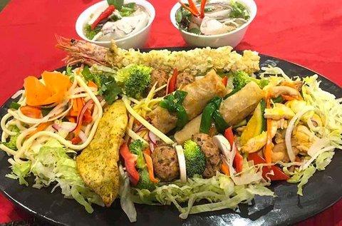 2 személyes ázsiai, egzotikus csirkés bőségtál
