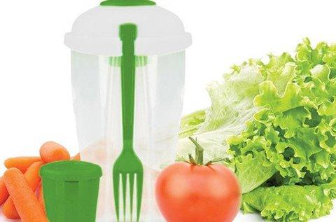 Salátás pohár villával és dresszing tartóval