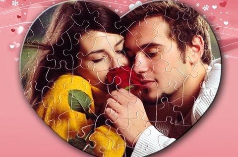 Ötletes 50 db-os szív alakú puzzle saját fényképpel