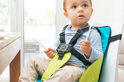 Hordozható szövet etetőszék magasított üléssel