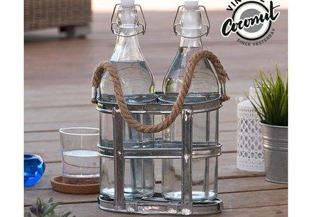 2 db vintage üveg üvegtartóval