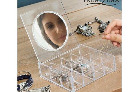 Primizima átlátszó ékszertartó tükörrel