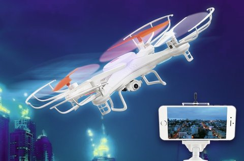 Hanks drón droid LED fénnyel, videokamerával