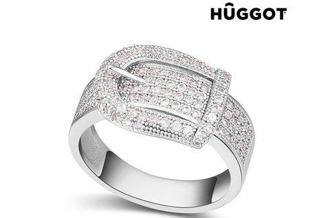 Belt Huggot ródiumozott gyűrű cirkóniakövekkel