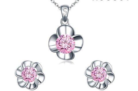 Pink Flower Huggot nyakék és fülbevalók