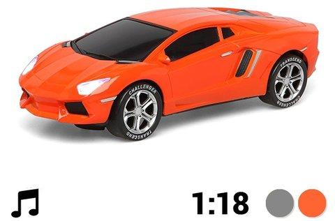 Világító és zenélő narancssárga játékautó