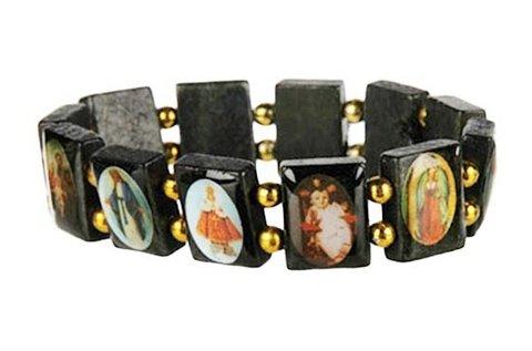 Fából készült karkötő vallási képekkel
