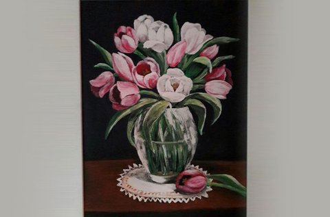 Tulipáncsokor festése farostra akrilfestékkel